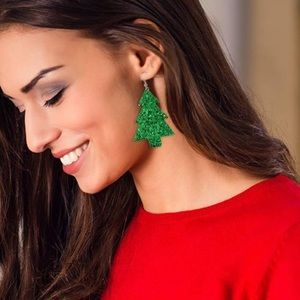 Glitter Christmas tree dangle earring faux leather